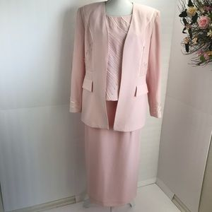 Vtg . Chad Stevens 3 pieces long skirt suit pink